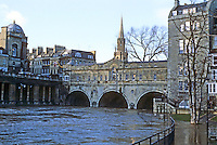 Bath: Pulteney Bridge, Avon River at flood level. Palladian style designed by Robert Adam.