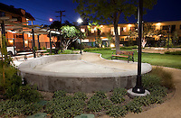 Children's sand box in Glendale Heritage Garden with night lighting, city park