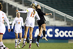 02 November 2012: Maryland's Olivia Wagner (11) and Wake Forest's Ally Berry (right) challenge for a header. The Wake Forest University Demon Deacons played the University of Maryland Terrapins at WakeMed Stadium in Cary, North Carolina in a 2012 NCAA Division I Women's Soccer and Atlantic Coast Conference Tournament semifinal game. Maryland won the game 2-0.