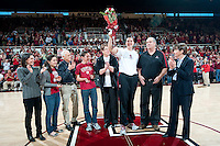 STANFORD, CA--Senior Sarah Boothe celebrates senior day with her family during PAC-12 conference play against Utah  at Maples Pavilion. The Cardinal won the matchup against the Utes 69-42.