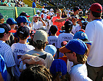 2 July 2011: Members of the Burlington American Little League wait on the sidelines prior to joining the players for the National Anthem at a game between the Vermont Lake Monsters and the Tri-City ValleyCats at Centennial Field in Burlington, Vermont. The Lake Monsters rallied from a 4-2 deficit to defeat the ValletCats 7-4 in NY Penn League action. Mandatory Credit: Ed Wolfstein Photo