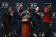 New York, NY - December 10, 2016: The five finalists for the Heisman Trophy pose during a news conference at the New York Marriott Marquis, December 10, 2016. (L-R: Dede Westbrook, Deshaun Watson, Jabrill Peppers, Baker Mayfield, Lamar Jackson. (Photo by Don Baxter/Media Images International)