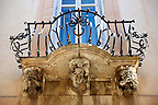 Palazzo La Rocca  balcony Baroque sculpted balcony corbels, Ragusa Ibla, Sicily