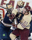 Thomas DiPauli (ND - 14), Patrick Brown (BC - 23) - The Boston College Eagles defeated the visiting University of Notre Dame Fighting Irish 4-2 to tie their Hockey East quarterfinal matchup at one game each on Saturday, March 15, 2014, at Kelley Rink in Conte Forum in Chestnut Hill, Massachusetts.