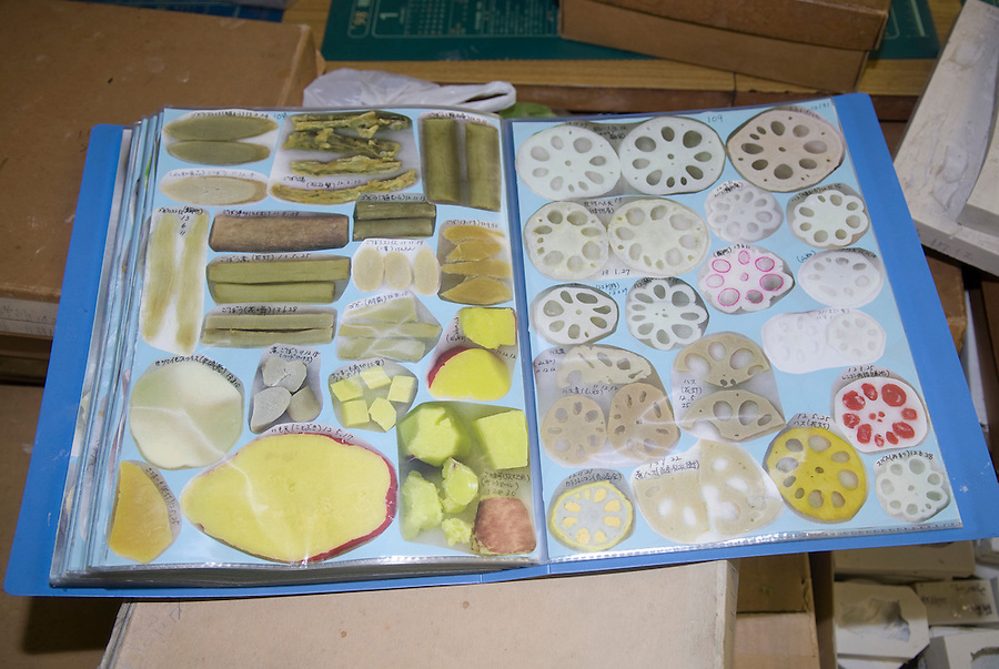Pictures of vegetables used in the production of plastic food at Maiduru Corporation, Tokyo, Japan, 22nd December 2008. Maiduru corporation makes highly realistic plastic food for display in restaurant and cafe windows. .