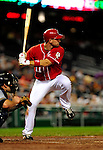 22 August 2009: Washington Nationals' third baseman Ryan Zimmerman in action against the Milwaukee Brewers at Nationals Park in Washington, DC. The Nationals fell to the Brewers 11-9 in the second game of their four-game series. Mandatory Credit: Ed Wolfstein Photo