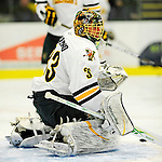 29 December 2010: University of Vermont Catamount goaltender Alex Vazzano, a Freshman from Trumbull, CT, warms up prior to facing the 2011 U.S. Men's National University Team in an exhibition game at Gutterson Fieldhouse in Burlington, Vermont. The Catamounts defeated the National team 7-1. Mandatory Credit: Ed Wolfstein Photo
