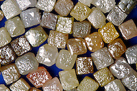 ROUGH DIAMONDS<br /> (Variations Available)<br /> White, Brown, &amp; Yellow 10x mag<br /> Each diamond is approximately 1/15 carat each or 1.5 mm