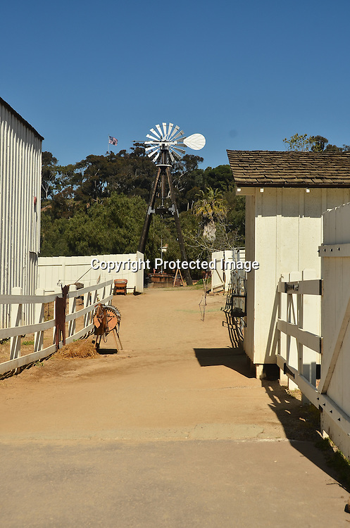 Stock Photo of Farm and Windmill