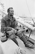 "29 Jun 1976, Newport, Aquidneck Island, Rhode Island, USA. French sailor Eric Tabarly won the transatlantic race for the second time and arrived aboard Pen Duick VI in Newport. 1976 saw the biggest edition of the Single-Handed Trans-Atlantic Race (OSTAR), sponsored by the British newspaper, The Observer. The race would later be renamed ""The Transat"". Image by © JP Laffont"