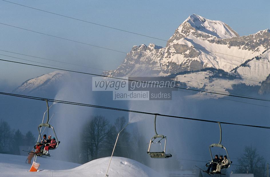 Europe/France/Rhône-Alpes/74/Haute-Savoie/Megève: Rochebrune- Le domaine skiable - Télésiège