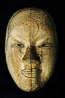 Female mask with features drawn on as carving guide, by Kitagawara Seiun.