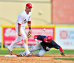 10 March 2010: St. Louis Cardinals' infielder Tyler Greene is unable to hold onto the ball as Willy Taveras slides safely into second during a Spring Training game against the Washington Nationals at Roger Dean Stadium in Jupiter, Florida. The Cardinals defeated the Nationals 6-4 in Grapefruit League action. Mandatory Credit: Ed Wolfstein Photo