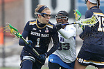 01 March 2015: Notre Dame's Kiera McMullan (1) and Duke's Gabby Moise (33). The Duke University Blue Devils hosted the University of Notre Dame Fighting Irish on the West Turf Field at the Duke Athletic Field Complex in Durham, North Carolina in a 2015 NCAA Division I Women's Lacrosse match. Duke won the game 17-3.