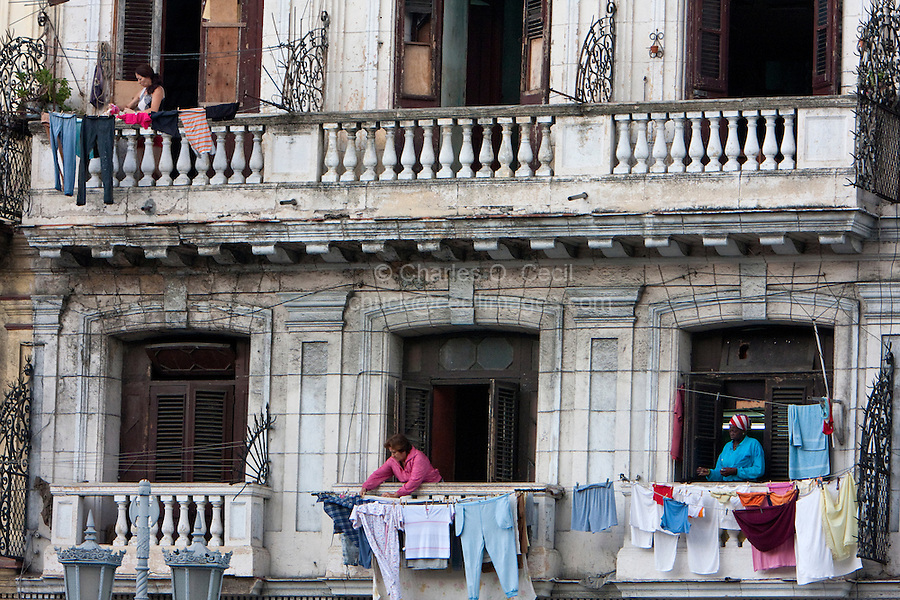 Cuba, Havana.  Drying Laundry on a Balcony on the Paseo de Marti, opposite the Capitol Building.