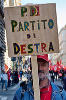 Roma 25  Ottobre 2014<br /> Manifestazione nazionale del sindacato Cgil ,contro il Jobs act e la riforma dell'articolo 18 del governo di Matteo Renzi.<br /> Rome October 25, 2014 <br /> National  demonstration of the trade union CGIL, against the Jobs Act and the reform of Article 18 of the Government of Matteo Renzi.