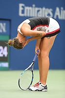 FLUSHING NY- SEPTEMBER 05: Karolina Pliskova reacts after winning her match against Venus Williams on Arthur Ashe Stadium at the USTA Billie Jean King National Tennis Center on September 5, 2016 in Flushing Queens. Credit: mpi04/MediaPunch