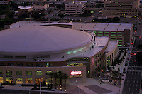 Archival stock photo of an aerial view of the Toyota Center in downtown Houston,Texas at dusk.