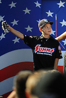 Sept. 6, 2010; Clermont, IN, USA; Cody Anderson , the son of NHRA pro stock driver Greg Anderson (not pictured) during driver introductions prior to the U.S. Nationals at O'Reilly Raceway Park at Indianapolis. Mandatory Credit: Mark J. Rebilas-