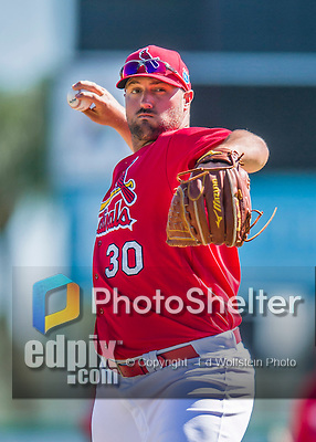 6 March 2016: St. Louis Cardinals pitcher Jonathan Broxton warms up prior to a Spring Training pre-season game against the Washington Nationals at Roger Dean Stadium in Jupiter, Florida. The Nationals defeated the Cardinals 5-2 in Grapefruit League play. Mandatory Credit: Ed Wolfstein Photo *** RAW (NEF) Image File Available ***