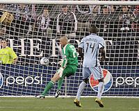 New England Revolution goalkeeper Preston Burpo (24) moves to intercept a ball.  The Colorado Rapids defeated the New England Revolution, 2-1, at Gillette Stadium on April 24.2010