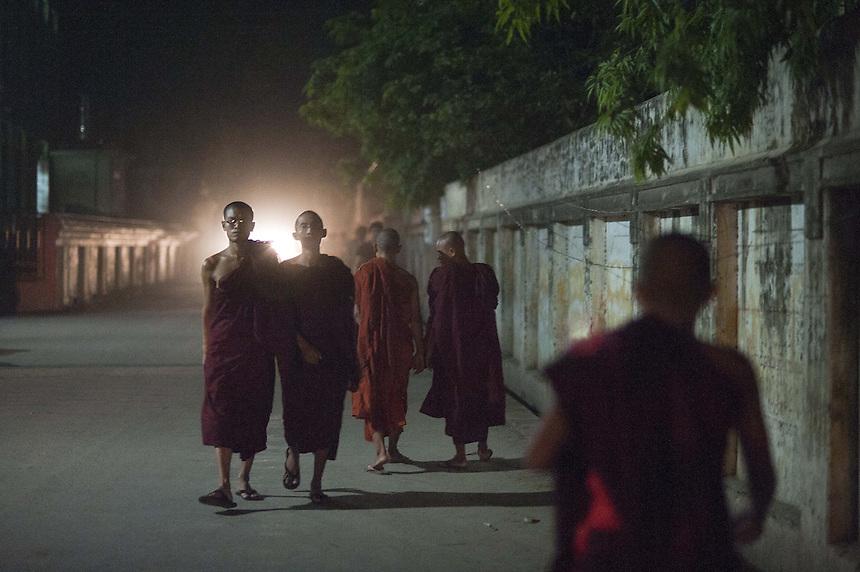 Monks near the Mae Soe Yein monastery in Mandalay where extremist Buddhist monk Ashin Wirathu resides.