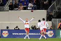 Joel Lindpere (20) of the New York Red Bulls celebrates scoring the first goal of the game during the first half of a Major League Soccer match between the New York Red Bulls and the Chicago Fire at Red Bull Arena in Harrison, NJ, on March 27, 2010.