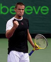 Mikhail YOUZHNY (RUS) against Stalinas WAWRINKA (SUI)  in the third round of the men's singles. Mikhail Youzhny beat Stanlinas Wawrinka 1-6 7-6 7-5..International Tennis - 2010 ATP World Tour - Sony Ericsson Open - Crandon Park Tennis Center - Key Biscayne - Miami - Florida - USA - Mon 29th Mar 2010..© Frey - Amn Images, Level 1, Barry House, 20-22 Worple Road, London, SW19 4DH, UK .Tel - +44 20 8947 0100.Fax -+44 20 8947 0117