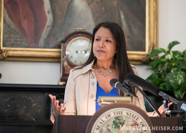 """Celeste Philip, Surgeon General and Secretary of the Department of Health speaks during a press conference to launch Prevent Child Abuse with Florida's annual """"Pinwheels for Prevention"""" campaign at the Florida Governor's Mansion."""