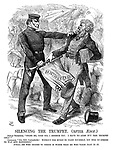 """Silencing the Trumpet. (after Aesop.) Fenian trumpeter. """"Spare me, good sir, I beseach you. I have no arms but this trumpet only!"""" Constable. """"No, you vagabone! Without the spirit to fight yourself, you stir up others to war and bloodshed."""" Moral.—He who incites to strife is worse than he who takes part in it."""