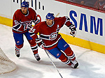 6 February 2007: Montreal Canadiens defenseman Sheldon Souray (44) and defenseman Francis Bouillon (51) in action against the Carolina Hurricanes at the Bell Centre in Montreal, Canada. The Hurricanes went on to defeat the Canadiens 2-1.....Mandatory Photo Credit: Ed Wolfstein *** Editorial Sales through Icon Sports Media *** www.iconsportsmedia.com