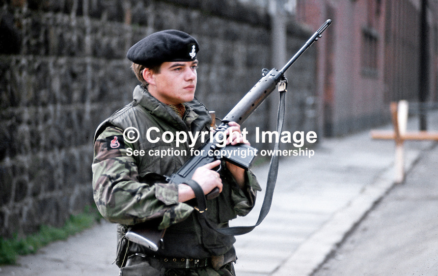 British soldier on duty, Crumlin Road, Belfast, N Ireland, September, 1971, 197109000431k.<br /> <br /> Copyright Image from Victor Patterson,<br /> 54 Dorchester Park, Belfast, UK, BT9 6RJ<br /> <br /> t1: +44 28 90661296<br /> t2: +44 28 90022446<br /> m: +44 7802 353836<br /> <br /> e1: victorpatterson@me.com<br /> e2: victorpatterson@gmail.com<br /> <br /> For my Terms and Conditions of Use go to<br /> www.victorpatterson.com