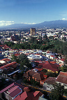 Red roofed houses in San Jose, Costa Rica, from above