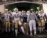 Notre Dame led by Brian Smith (58) gets ready to take the field. The Pittsburgh Panthers defeat the Notre Dame Irish 27-22 at Heinz Field, Pittsburgh Pennsylvania on November 14, 2009..