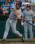 06/19/2006 Rice University's Joe Savery hits a sacrifice fly in the first that scored the second run of the inning against Miami during game eight of the College World Series in Omaha Nebraska Monday evening..(photo by Chris Machian/Prairie Pixel Group)
