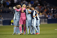 Sporting KC players in huddle prior to start of second half..Sporting Kansas City defeated D.C Utd 1-0 at Sporting Park, Kansas City, Kansas.
