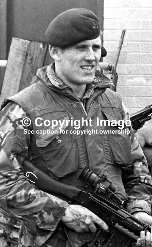 Private John Gaskell, 22 years, 2 Bn, Light Infantry, British Army, who was the second soldier to die after a Provisional IRA booby-trap bomb at the Maguire &amp; Patterson match factory on the Donegall Road, Belfast, 13th May 1973. 197305140281.<br /> <br /> Copyright Image from Victor Patterson, 54 Dorchester Park, <br /> Belfast, UK, BT9 6RJ<br /> <br /> t1: +44 28 9066 1296 (from Rep of Ireland 048 9066 1296)<br /> t2: +44 28 9002 2446 (from Rep of Ireland 048 9002 2446)<br /> m: +44 7802 353836<br /> <br /> e1: victorpatterson@me.com<br /> e2: victorpatterson@gmail.com<br /> www.victorpatterson.com<br /> <br /> Please see my Terms and Conditions of Use at www.victorpatterson.com. It is IMPORTANT that you familiarise yourself with them.<br /> <br /> Images used on the Internet must be visibly watermarked i.e. &copy; Victor Patterson<br /> within the body of the image and copyright metadata must not be deleted. Images <br /> used on the Internet have a size restriction of 4kbs and will be chargeable at current<br />  NUJ rates unless agreed otherwise.<br /> <br /> This image is only available for the use of the download recipient i.e. television station, newspaper, magazine, book publisher, etc, and must not be passed on to any third <br /> party. It is also downloaded on condition that each and every usage is notified within 7 days to victorpatterson@me.com<br /> <br /> The right of Victor Patterson to be identified as the author is asserted in accordance with The Copyright Designs And Patents Act (1988). All moral rights are asserted.