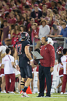 STANFORD, CA - October 8, 2016: Ryan Burns, David Shaw at Stanford Stadium. The Washington State Cougars defeated the Cardinal 42-16.