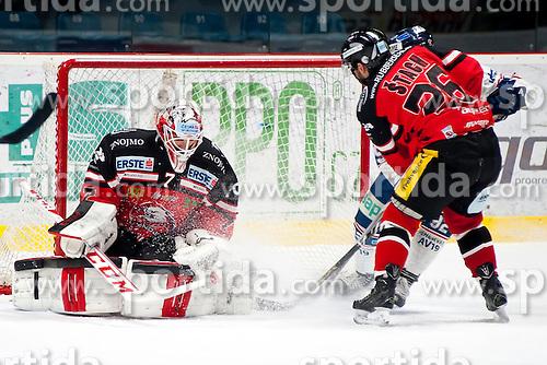 10.01.2016, Ice Rink, Znojmo, CZE, EBEL, HC Orli Znojmo vs Fehervar AV 19, 43. Runde, im Bild v.l. Patrik Nechvatal (HC Orli Znojmo) Lubomir Stach (HC Orli Znojmo) Chris Francis (SAPA Fehervar AV19) // during the Erste Bank Icehockey League 43th round match between HC Orli Znojmo and Fehervar AV 19 at the Ice Rink in Znojmo, Czech Republic on 2016/01/10. EXPA Pictures © 2016, PhotoCredit: EXPA/ Rostislav Pfeffer