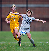 Daphne Corboz (6) of Georgetown controls the ball in front of Jourdan McVicker (9) of La Salle during the first round of the NCAA tournament at Shaw Field in Washington, DC.  Georgetown defeated La Salle, 2-0.