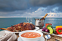 Roasted lamb with ratatouille and Gazpacho.  Ocean Dancer, Maldives