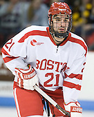 Sean Escobedo (BU - 21) - The visiting Boston College Eagles defeated the Boston University Terriers 3-2 to sweep their Hockey East series on Friday, January 21, 2011, at Agganis Arena in Boston, Massachusetts.