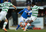 St Johnstone v Celtic.....26.12.13   SPFL<br /> Stevie May is closed down by Efe Ambrose<br /> Picture by Graeme Hart.<br /> Copyright Perthshire Picture Agency<br /> Tel: 01738 623350  Mobile: 07990 594431