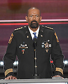 David A. Clarke, Jr., Sheriff, Milwaukee County, Wisconsin, makes remarks at the 2016 Republican National Convention held at the Quicken Loans Arena in Cleveland, Ohio on Monday, July 18, 2016.<br /> Credit: Ron Sachs / CNP<br /> (RESTRICTION: NO New York or New Jersey Newspapers or newspapers within a 75 mile radius of New York City)