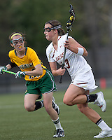 Boston College midfielder Cali Ceglarski (23) on the attack. Boston College defeated University of Vermont, 15-9, at Newton Campus Field, April 4, 2012.