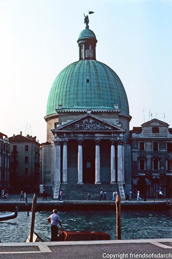 "Venice:  Church of San Simeon Piccolo 1718-1738.   Architect Giovanni Scalparato built ""along  Longhena  Lines""--I. B. Salute.  Photo '83."