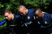 The Bath Rugby front row of Henry Thomas, Tom Dunn and Beno Obano pack down for a scrum. Bath Rugby pre-season training session on August 9, 2016 at Farleigh House in Bath, England. Photo by: Patrick Khachfe / Onside Images