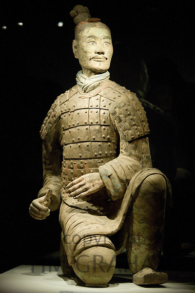 Three coloured kneeling archer Terracotta warrior on display in the Shaanxi History Museum, Xian, China