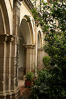 Arches in the Patio of the Reservoirs in the former San Francisco Javier College, Tepotzotlan, Mexico. This former Jesuit monastery now houses the National Museum of the Viceroyalty or Museo Nacional de Virreinato.