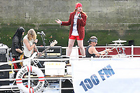 1/9/2010. RADIO NOVA LAUNCH.Guns n Roses tribute act are pictured on a barge on the Liffey Dancers near the O Connell Bridge Dublin for the launch of radio Nova.Picture James Horan/Colins